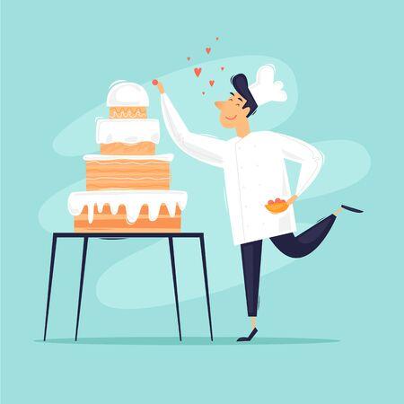 Baker baked cake, confectioner. Flat design vector illustration. Ilustracja