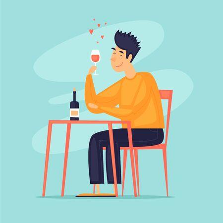 Man is drinking wine. Flat design vector illustration. Illustration