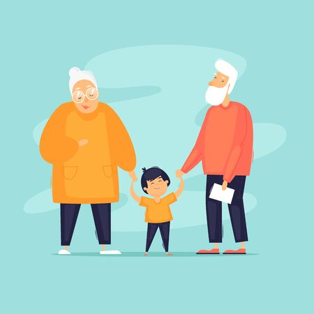 Generations, grandparents, sons, daughters, grandchildren. Flat design vector illustration. Фото со стока - 138266609