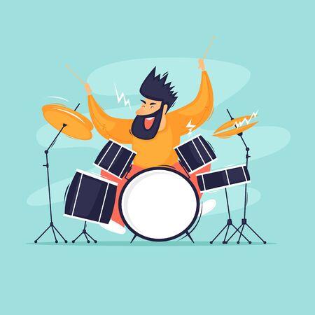 Drummer plays the drums, music. Flat design vector illustration. Ilustrace