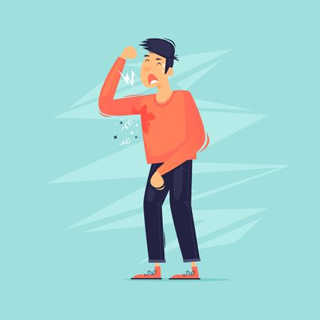 Tired man. Flat design vector illustration. 向量圖像