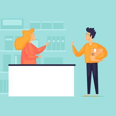 Parcel posting, sending and receiving. Post office. Flat design vector illustration.