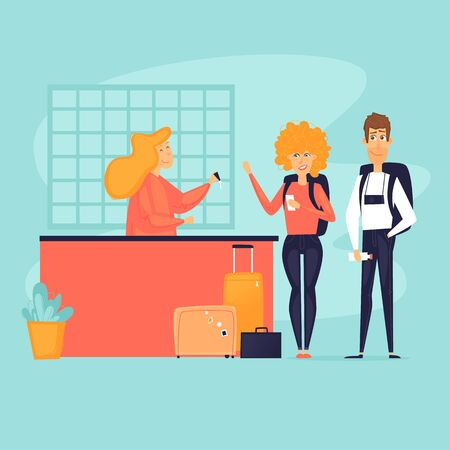 Traveling, couple checking into a hotel. Reception desk. Flat design vector illustration.