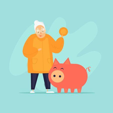 Grandmother saves money to retirement piggy bank. Flat design vector illustration.