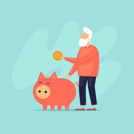 Pensioner puts money in a piggy bank. Flat design vector illustration. Stock Illustratie
