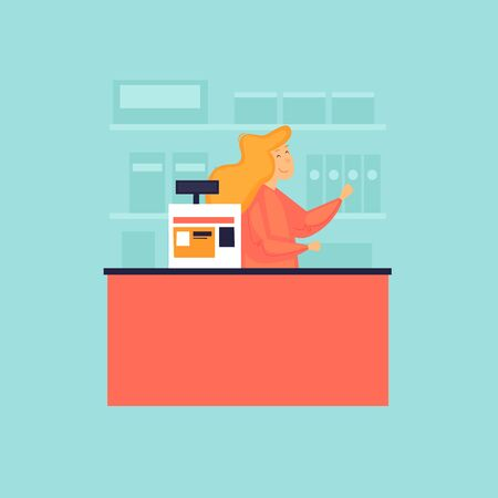 Cashier at the checkout. Score. Flat design vector illustration.