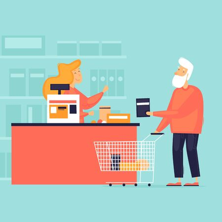 Pensioner in the store. Cashier at the checkout. Flat design vector illustration.