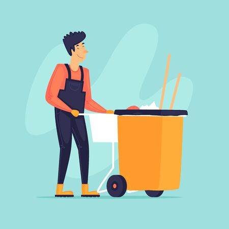 Street cleaning, a man drags a container, a cleaner. Flat design vector illustration.