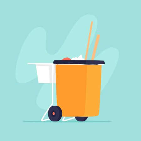 Garbage container. Flat design vector illustration. 向量圖像