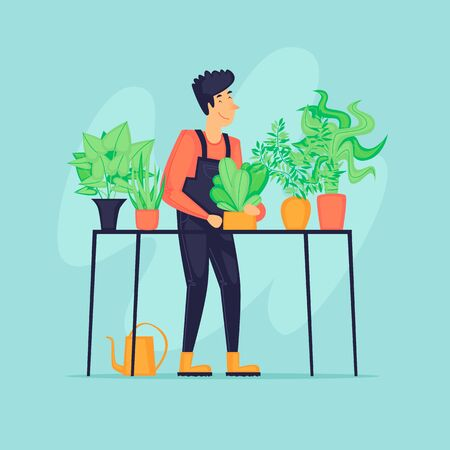 Gardener with plants, agriculture. Flat design vector illustration.