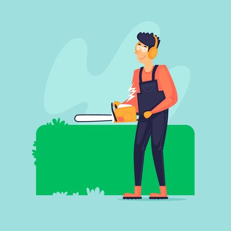 Gardener cuts off the bushes with a chainsaw. Agriculture. Flat design vector illustration.  イラスト・ベクター素材
