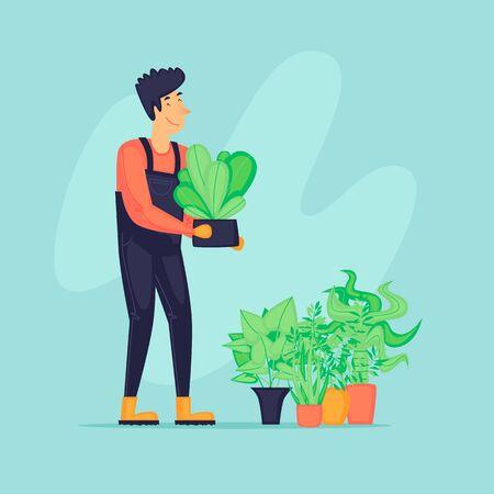 Man with plants, gardener, agriculture. Flat design vector illustration.