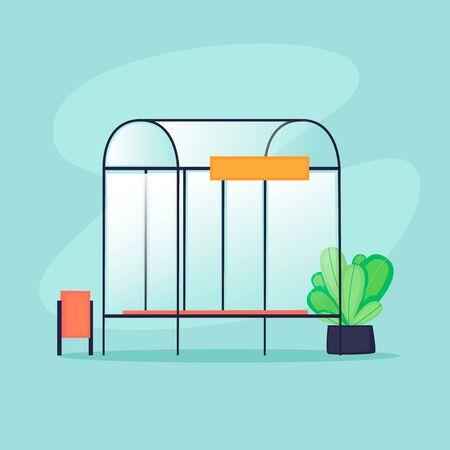 Public transport stop. Flat design vector illustration. 向量圖像