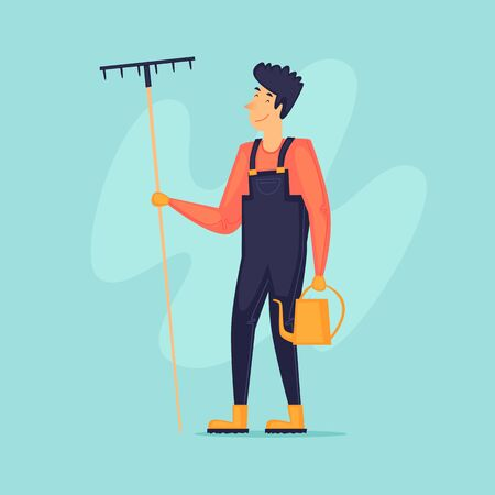 Man with rake and watering can, gardener, agriculture. Flat design vector illustration.