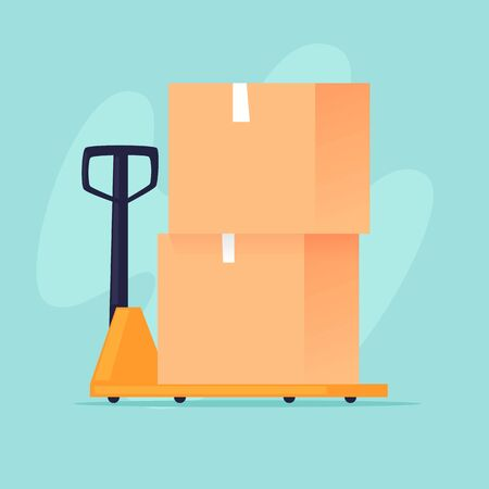 Cart with boxes, freight. Flat design vector illustration.