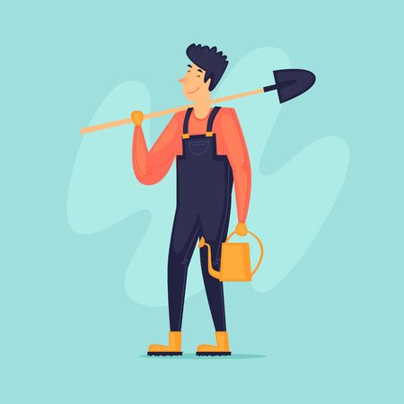 Man with a shovel and a watering can, gardener, agriculture. Flat design vector illustration.