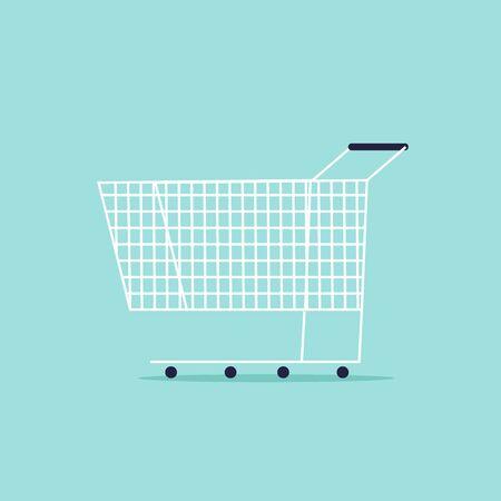 Shopping cart. Flat design vector illustration.