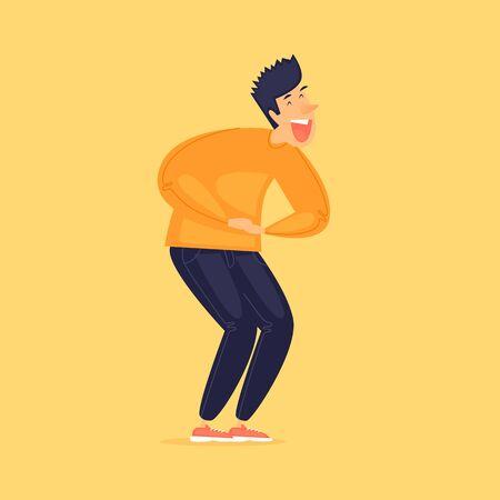 Man is laughing, April 1, April Fools Day. Flat design vector illustration. Ilustracja
