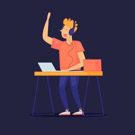 DJ plays music, night club, parties. Flat design vector illustration.