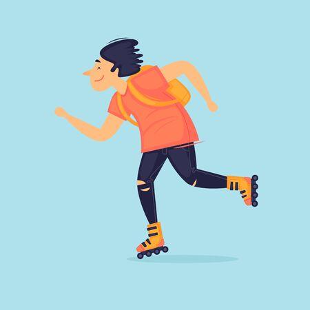 Guy rides roller skates, sports. Flat design vector illustration. Illustration