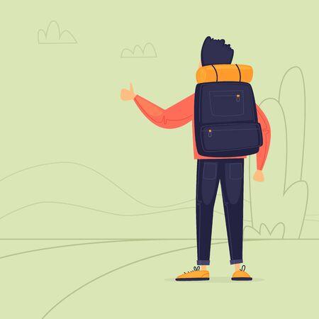 Hitchhiking, a man stops transport. Journey. Flat design vector illustration. 向量圖像