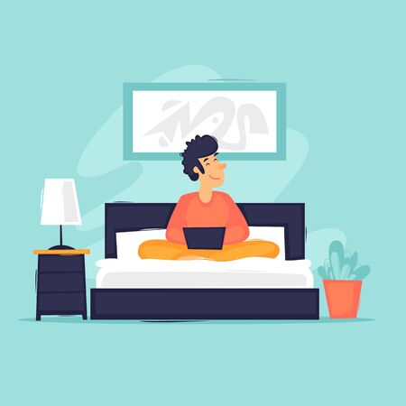Work from home. Telework. Man on the bed at home works on the Internet. Flat design vector illustration. 向量圖像