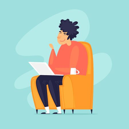 Work from home. Telework. Man sits in a chair at home working on the Internet. Flat design vector illustration.