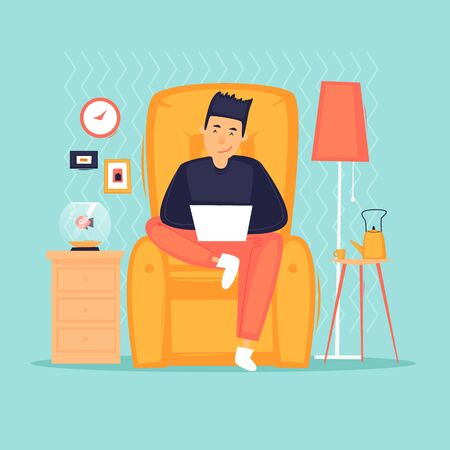 Work at home, distant work, freelance, quarantine, a man with a laptop sitting on a chair working. Flat design vector illustration.  イラスト・ベクター素材