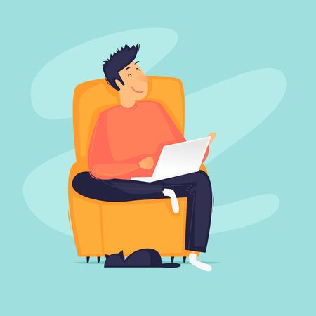 Work at home, distant work, freelance, quarantine, a man with a laptop sitting on a chair working. Flat design vector illustration. 向量圖像