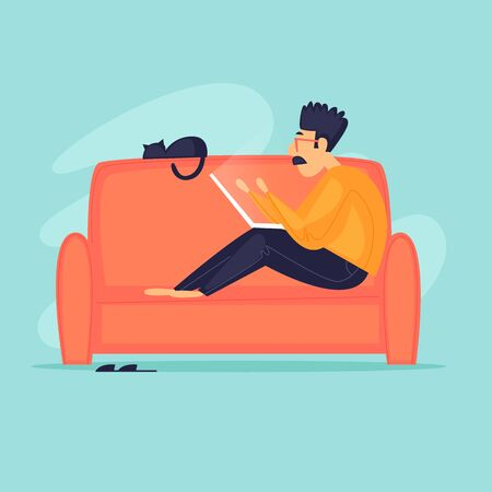 Work at home, distant work, freelance, quarantine, a man with a laptop sitting on a sofa working. Flat design vector illustration.