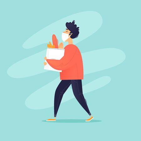 Masked Man Carries Food, Quarantine. Flat design vector illustration.