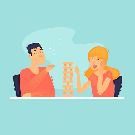 Games at home, play tower balance. Flat design vector illustration. 向量圖像