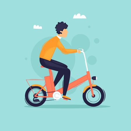 Man rides an electric bike. Sport. Flat design vector illustration.