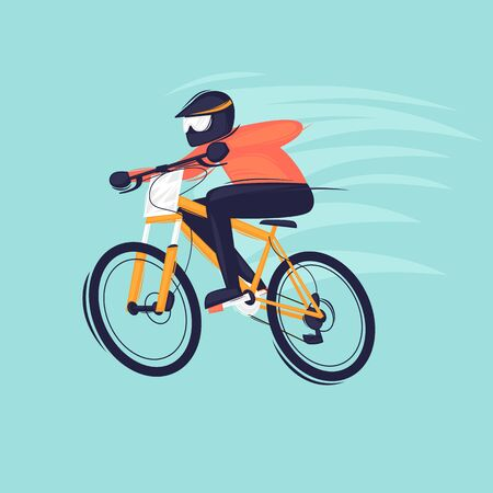 Man rides a mountain bike. Sport. Flat design vector illustration.  イラスト・ベクター素材