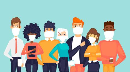 Masked people. Virus Flat design vector illustration. 向量圖像