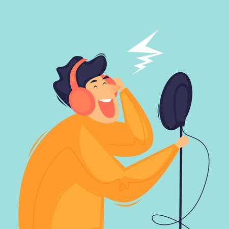 Recording a song in the studio. Flat design vector illustration. 向量圖像