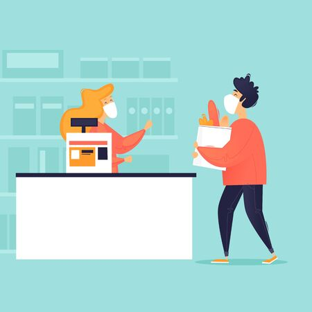 Masked seller and buyer in a store, virus. Flat design vector illustration. 向量圖像