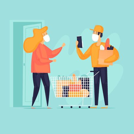 Delivery of goods, masked courier, virus, self-isolation. Flat design vector illustration. 向量圖像