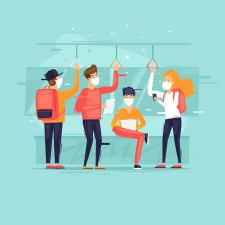 Masked people in public transport, virus. Flat design vector illustration.