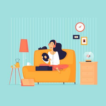 Girl sitting on a sofa at home listening to music, quarantine, self-isolation. Flat design vector illustration. 向量圖像