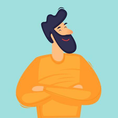 Confident man. Successful person. Flat design vector illustration.