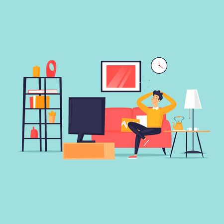 Man sits at home on the couch watching television, isolation, virus. Flat design vector illustration.