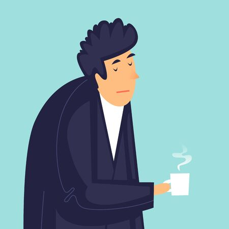 Man with a cup of coffee, morning. Flat design vector illustration. 向量圖像