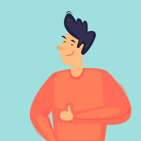 Successful man, thumbs up, confident. Flat design vector illustration 向量圖像
