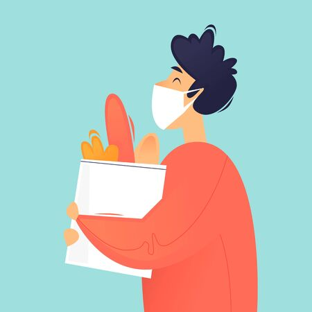 Masked man carries shopping from the store. Flat design vector illustration. 向量圖像