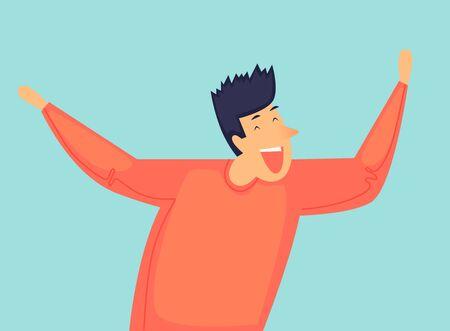 Man laughs, success, joy. Flat design vector illustration. 向量圖像