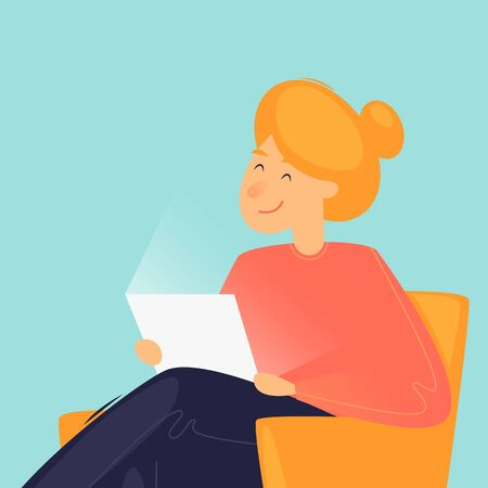 Woman sitting with laptop at home, remote work, communication via the Internet. Flat design vector illustration. 向量圖像