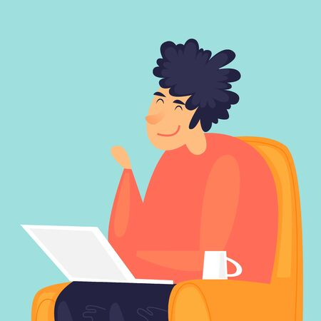 Man sits with a laptop at home, remote work, communication via the Internet. Flat design vector illustration 向量圖像
