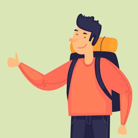 Hitchhiking trip, man holds thumb up. Flat design vector illustration. 向量圖像