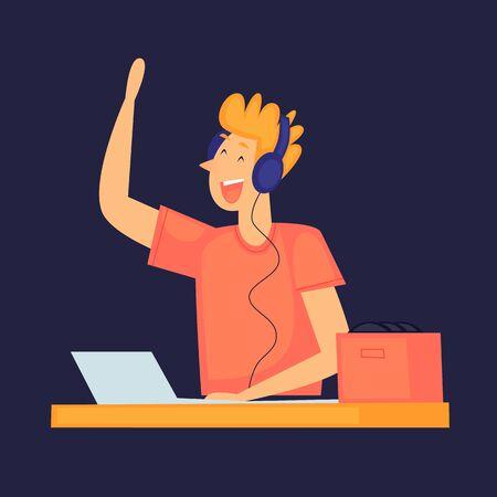 DJ plays music, club, party. Flat design vector illustration.
